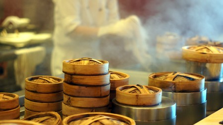 Dim Sum steamer kitchen setup           Stock Photo