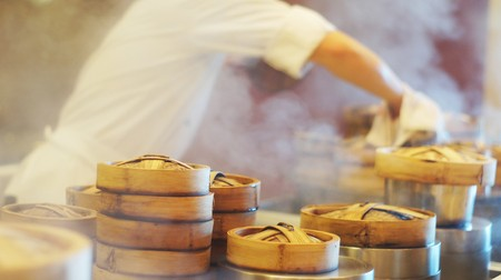 Steamed dimsum kitchen setup              Stock Photo