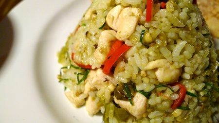 Asian green curry fried rice photo