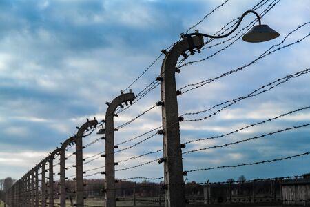 auschwitz: Electric fence in Auschwitz, Poland.