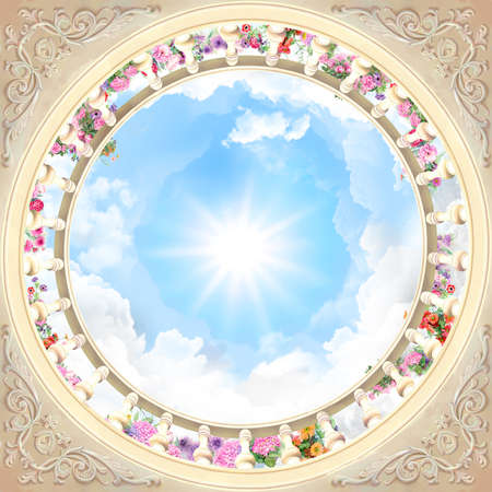 Digital fresco, round ceiling with flowers and ornaments on the blue sky