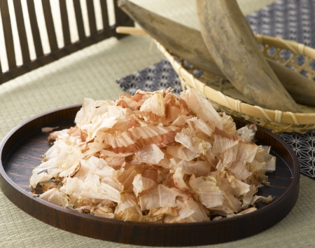 dashi: Dried Bonito and Flakes on the wood tray