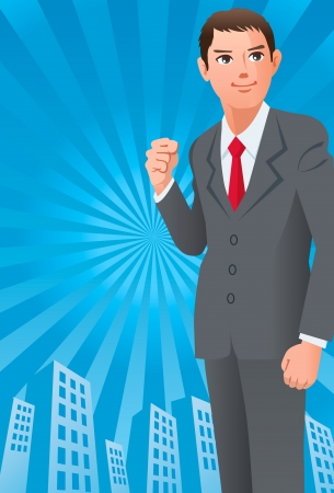 vigorous: Businessman with the fist up on the sunshine cityscape silhouette background