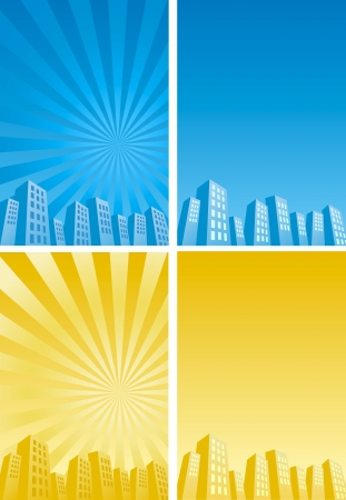 vigorous: Sunbeam skyscrapers silhouette background