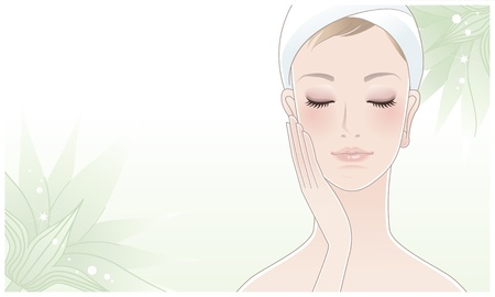 woman makeup: Beautiful girl, spa woman washing her face  facial care, skin care  relax bath  Illustration