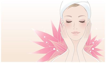 美しい少女は、彼女の顔にロータス花背景リラクゼーションのスキンケア化粧品のマスクを持つ若い女  イラスト・ベクター素材