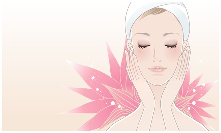 skincare: Beautiful girl, young woman with cosmetic mask in her face on the lotus flower background  Skin care  Relaxation    Illustration