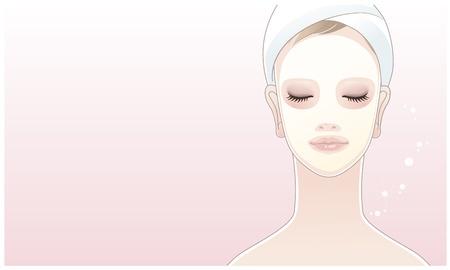 美しい少女, 若い女性の蓮の花背景スキンケア リラクゼーションに彼女の顔に触れる  イラスト・ベクター素材