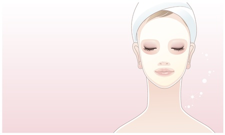 skin face: Beautiful girl, young woman touching her face on the lotus flower background  Skin care  Relaxation  Illustration