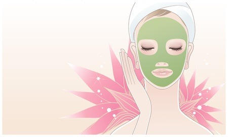 facial massage: Beautiful girl, young woman touching her face on the lotus flower background  Skin care  Relaxation