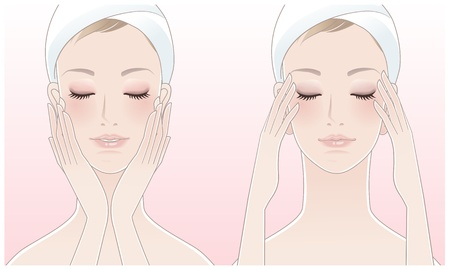 Beautiful young woman pressing temples, Touching her face after beauty treatment  Vector