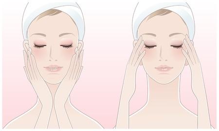 Joven y bella mujer pulsando templos, Tocar su cara después de un tratamiento de belleza Ilustración de vector