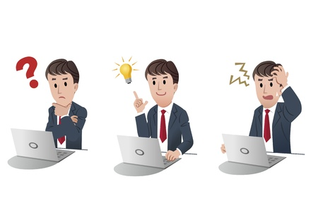 doubting: set of isolated businessman at computer, laptop with question, getting idea light bulb, upset Illustration