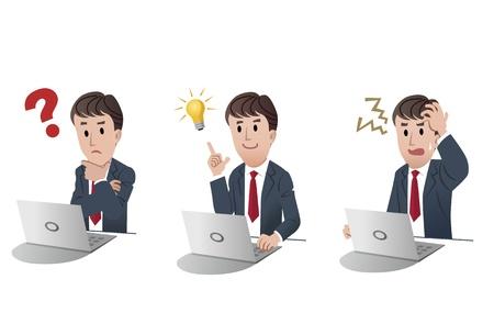 set van geïsoleerde zakenman op computer, laptop met vraag, het krijgen van idee gloeilamp, boos