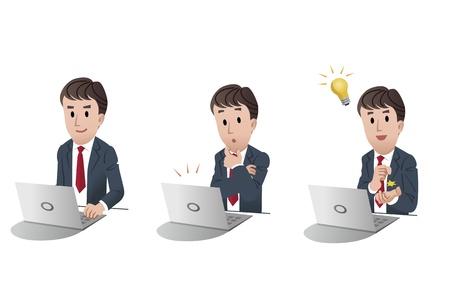 conjunto de hombre de negocios aislado en el ordenador, portátil, con luz bombilla idea, alerta a notar correo electrónico, ilustración, Ilustración de vector
