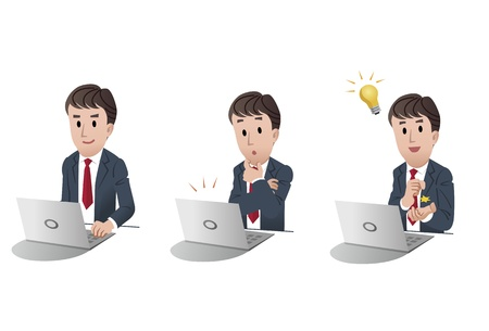 set of isolated businessman at computer, laptop, with idea light bulb, noticing email alert, illustration,  Illustration