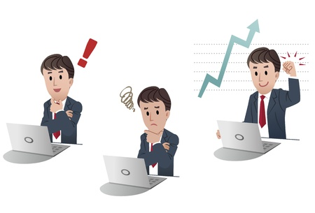 confused person: set of isolated businessman at computer, laptop, getting idea, looking worry, sales graph, Illustration