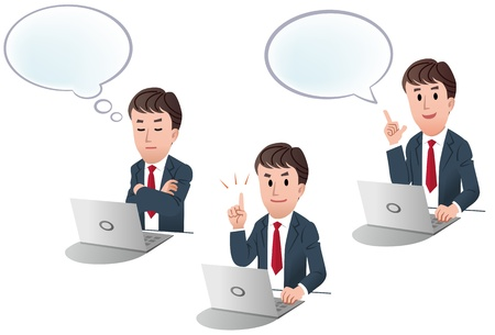 set of isolated businessman at computer, laptop with speech balloon, with speech bulb, index finger pointing upwards