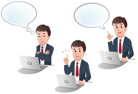realiseren: set van geïsoleerde zakenman op computer, laptop met tekstballon, met spraak bol, wijsvinger naar boven