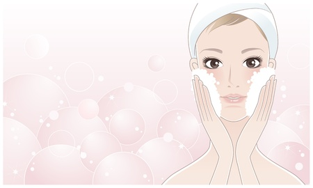 bath treatment: Beautiful girl, spa woman washing her face  facial care, skin care  relax bath  Illustration