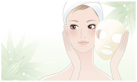 skin care face: Beautiful girl, young woman touching her face with closed eyes on the green flower background  Skin care  Relaxation  Aroma therapy  Illustration