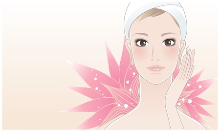 bath treatment: Beautiful girl, young woman touching her face after beauty treatment on the lotus flower background
