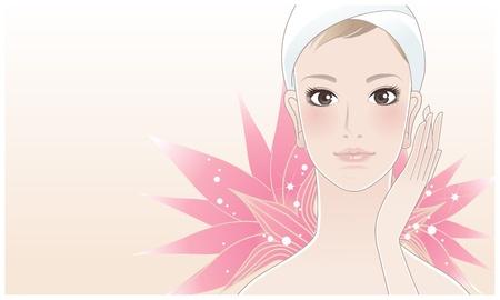 Hermosa niña, mujer joven que toca su cara después de un tratamiento de belleza en el fondo de la flor de loto Ilustración de vector