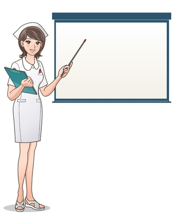 hospital staff: portrait of a smiling nurse pointing a screen with a notepad and pen  Health care  Nurse hat, Cartoon Nurse  Isolated on white