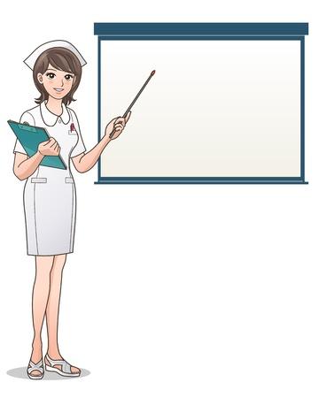 infermiere paziente: Ritratto di un'infermiera sorridente che indica una schermata con un blocco note e la salute penna cappello cura Infermiere, Infermiere Cartoon isolato su bianco