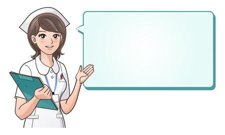 enfermera caricatura: Joven enfermera linda bienvenida paciente con una sonrisa en un fondo de burbuja de di�logo