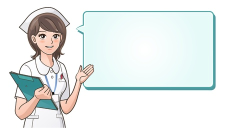 nurse uniform: Young cute nurse welcoming patient with a smile on a speech bubble background