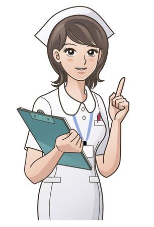 �ndice: jovem enfermeira que aponta o dedo indicador para cima
