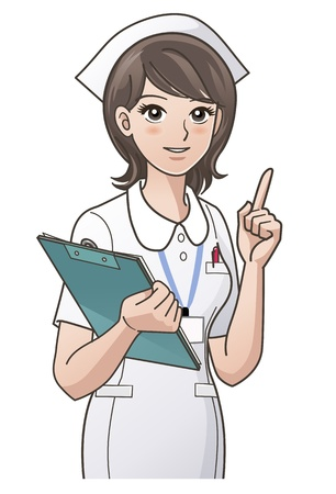 doctor cartoon: young nurse pointing the index finger up Illustration