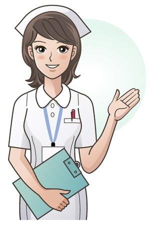 Młoda pielęgniarka przewodnią informacje z ręką