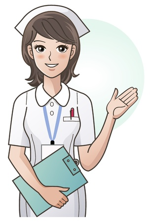 nurse uniform: Young nurse guiding information with the hand