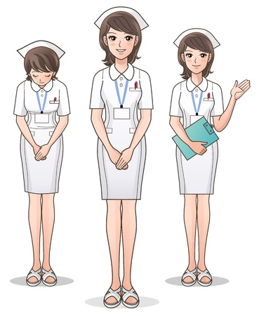 enfermera caricatura: Enfermera linda joven que da la bienvenida con una sonrisa