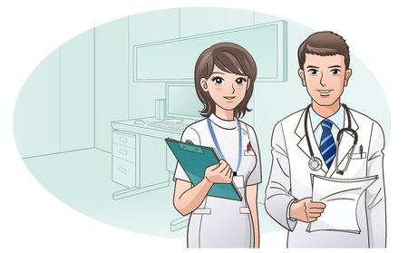 doctor dibujo animado: Confiado y sonriente Médico Enfermera en el fondo la oficina del doctor s