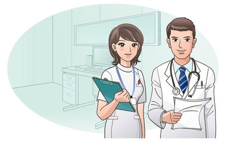 doctor verpleegster: Glimlachend Vertrouwen Arts en verpleegkundige op kantoor van de arts en achtergrond Stock Illustratie