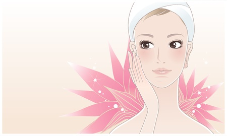 pampering: Beautiful girl, young woman touching her face after beauty treatment on the lotus flower background