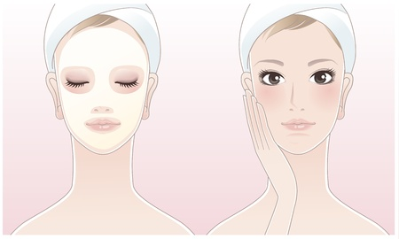 Beautiful girl,spa woman touching her face, Spa woman with a beauty mask on the pink background  Skin care  Relaxation  Aroma therapy  Beauty treatment  Facial cleansing Mask  Vector