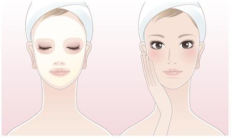 tratamiento facial: Hermosa niña, mujer spa tocar su cara, mujer de Spa con una máscara de belleza en la piel de color rosa de fondo atención relax Aromaterapia Belleza máscara de limpieza Tratamiento facial Vectores