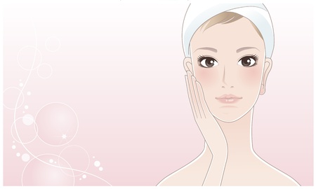 Beautiful girl, spa woman touching her face after Skin care Young Skin Moisturizing  Skincare  Looking straight  Stock Vector - 15117371