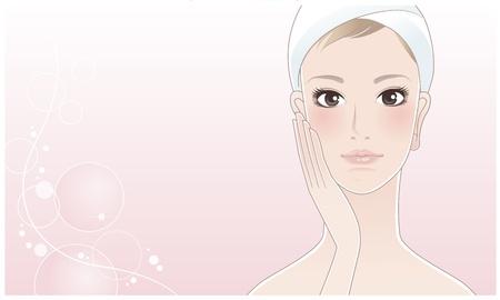 Hermosa niña, mujer spa tocar su cara después de cuidado de la piel cuidado de la piel Hidratante Piel Joven Mirando directamente