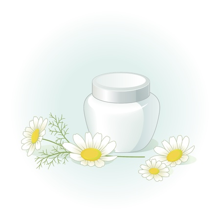 Cream jar and chamomile flowers on the pale green blue background Vector