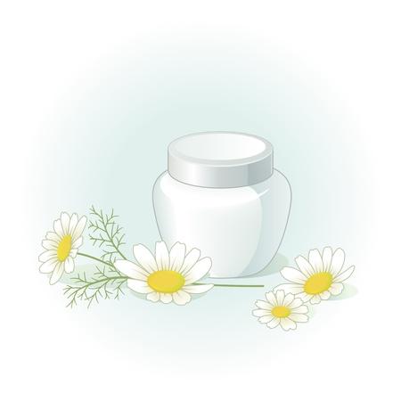 moisturizing: Cream jar and chamomile flowers on the pale green blue background Illustration