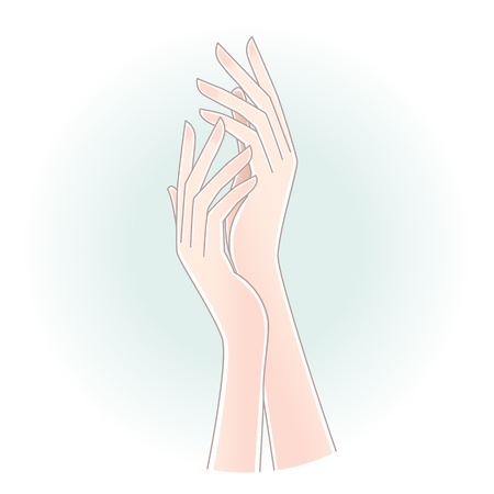 Beautiful woman s hands on pale green blue background