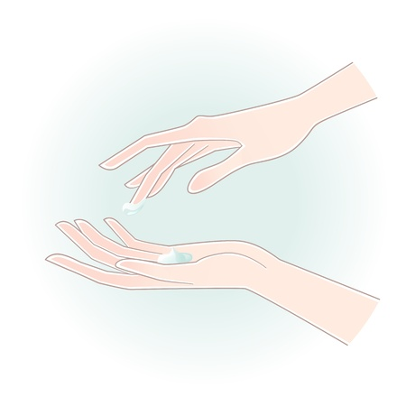 Beautiful woman hands with care cream on the palm Illustration