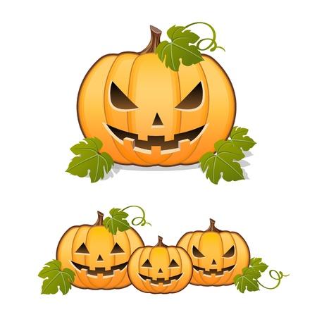 calabaza caricatura: Calabaza de Halloween, juego de Jack-o-linterna en el fondo blanco Vectores