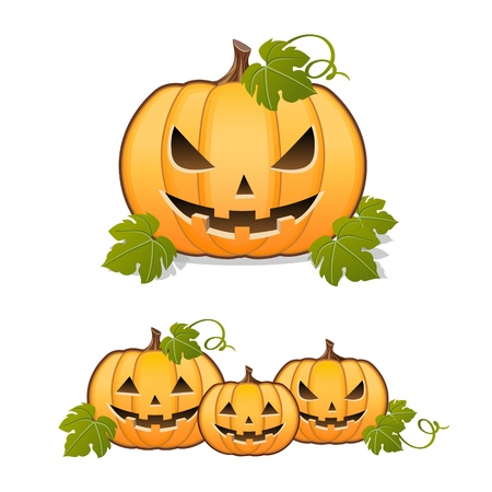 Halloween pumpkin, set of Jack-o-lantern on white background Vector