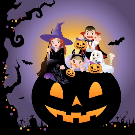 halloween cartoon: Girls, boy and dog wearing halloween costume on the huge jack-o-lantern